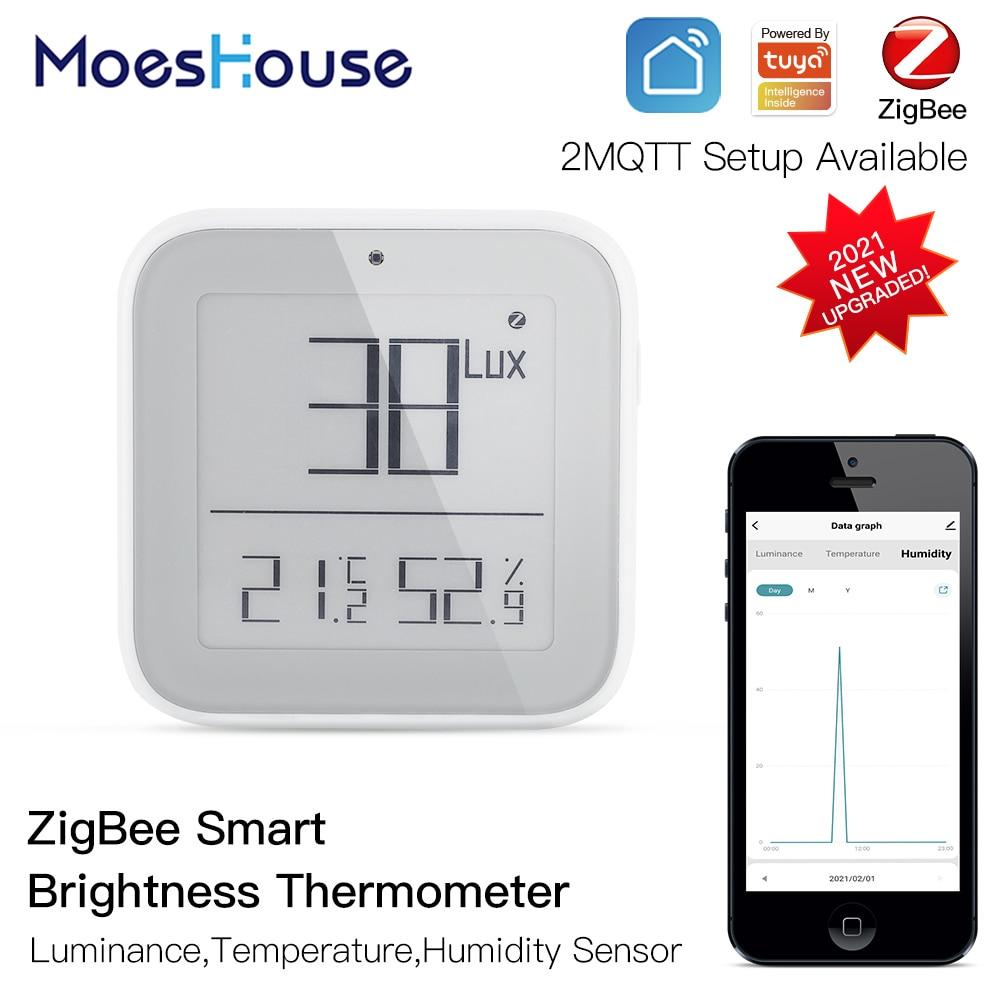الذكية زيجبي سطوع ميزان الحرارة في الوقت الحقيقي ضوء حساس درجة الحرارة والرطوبة كاشف حساس مع تويا التطبيق الذكي