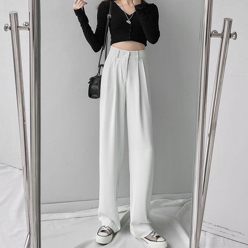 White Wide Leg Pants Women's Summer 2021 New High Waist Loose Straight Drooping Ice Silk Leisure Spr