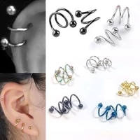 wholesale 5pcs gauge 18gball surgical steel double spiral twister barbell earring ear cartilage rings tragus piercing jewelry