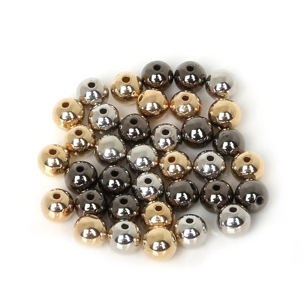 30-300 pcs/lot 4 6 8 10 12mm or argent Bronze couleur boule à sertir fin perles bouchon entretoise perles pour la fabrication de bijoux résultats