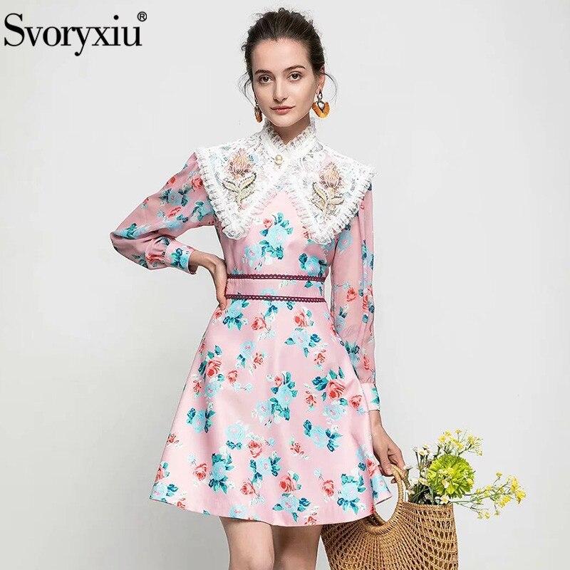 Svoryxiu فستان قصير عصري جديد للحفلات, فستان نسائي أنيق من الدانتيل المطرز بالخرز مطبوع عليه زهور لعام 2021