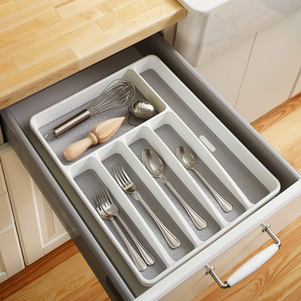 Кухонный ящик органайзер лоток для столовых приборов посуда разделительная