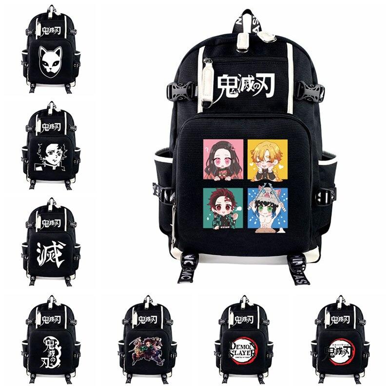 Bolsa para Portátil Anime Demônio Slayer Mochila Teenages Kamado Tanjirou Masculino Feminino Viagem Bagpacks Casual Adolescentes