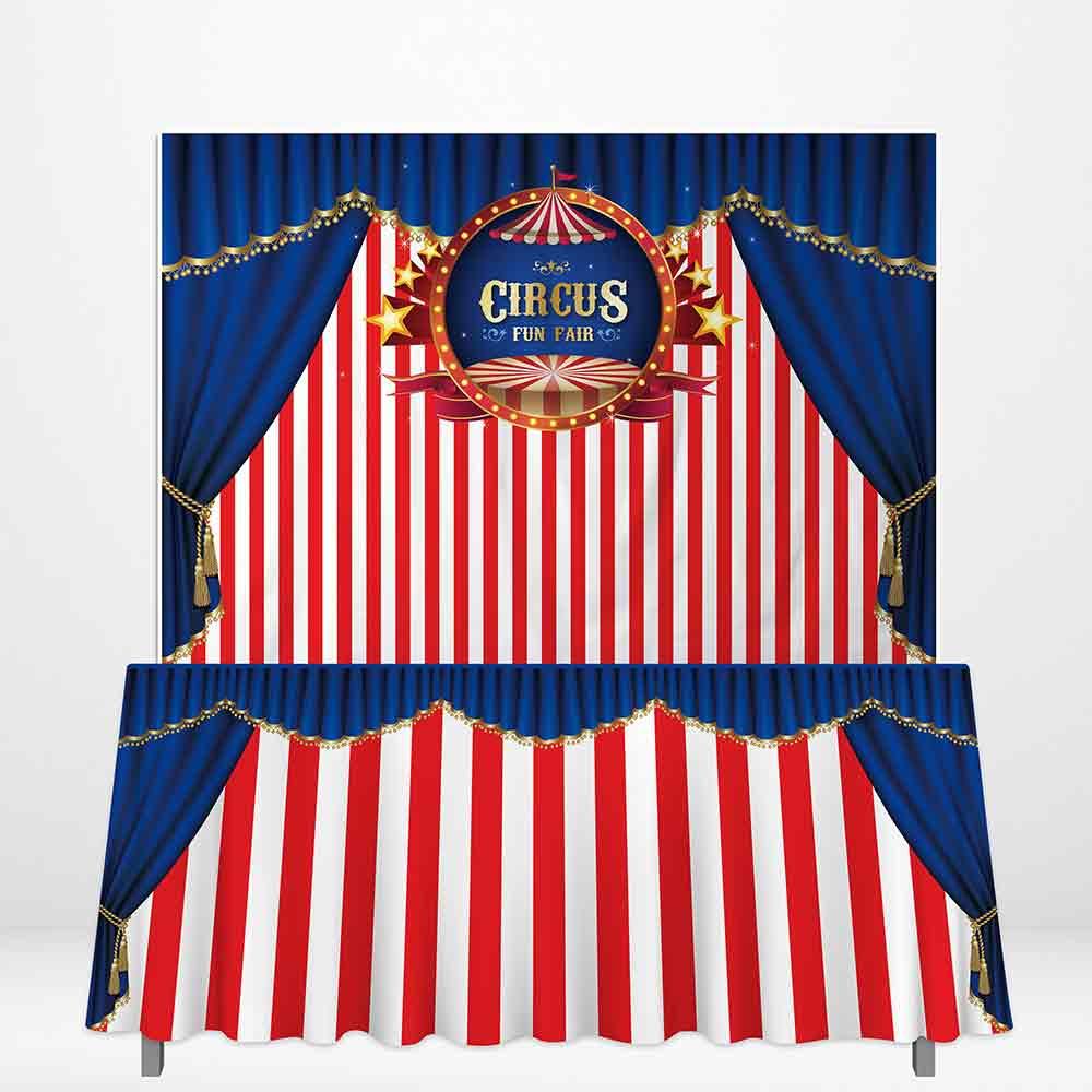 Allenjoy circus tent Theme Backdrops Happy child Birthday fun fair Table cloth DIY Celebration Party curtain fabric decoration