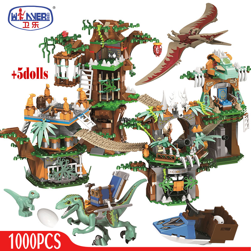 ERBO 1000pcs Jurassic World Dinosaur Tree House Building Blocks Jurassic World Park Figures Bricks sets Toys For Children gifts