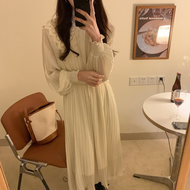 H0115ee26579c48cca6e204710c4f621dx - Spring / Autumn Lace Stand Collar Long Sleeves Pleated Midi Dress with Belt