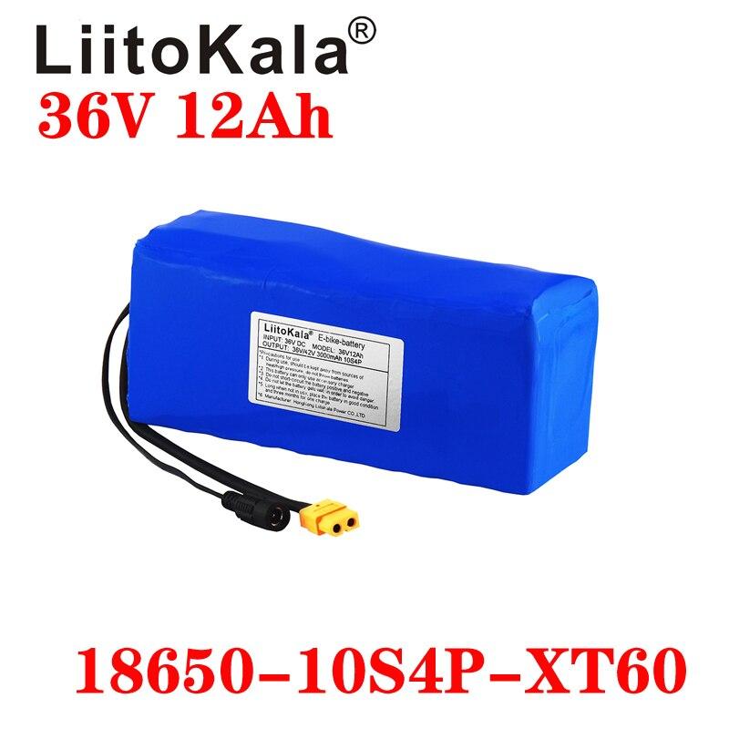 LiitoKala, batería de bicicleta eléctrica de 36V, 12Ah, 6Ah, 8Ah, 10Ah, paquete de batería de ion de litio de 18650, alta potencia, scooter de 42V, enchufe XT60