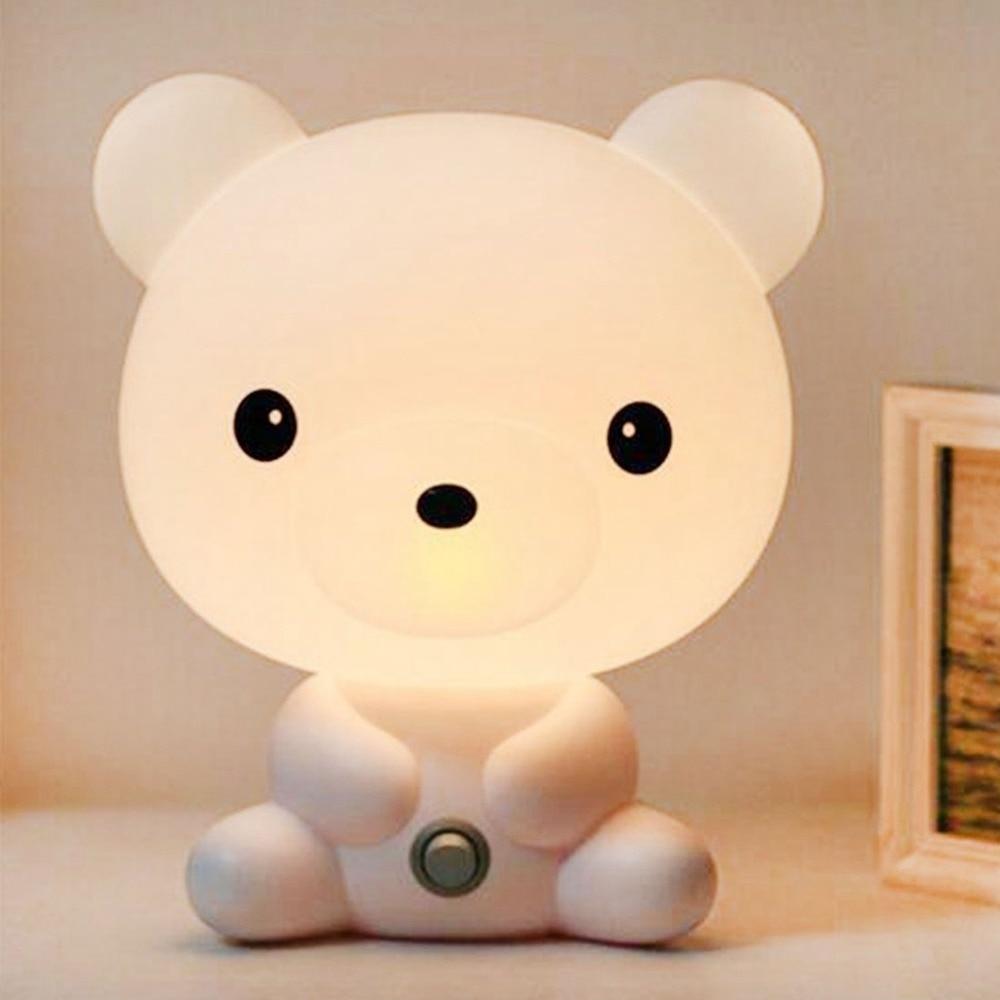 Мультфильм ночной Светильник симпатичной панды и настольные лампы LED Дети Детские подарки сна лампа для спальни прикроватные лампы внутрен...