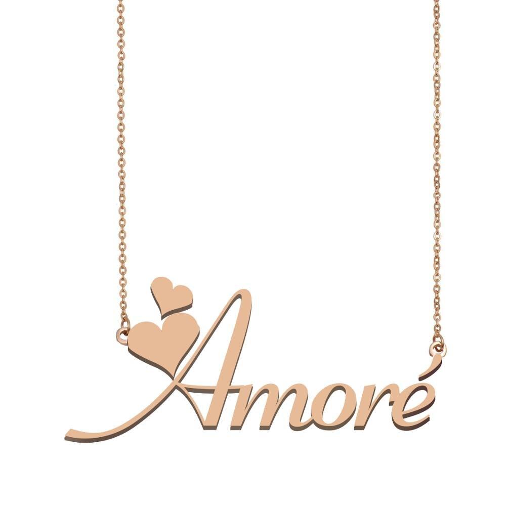 Collar con nombre de Amoré, collar con nombre personalizado para las mujeres y las mejores amigas cumpleaños boda navidad regalo del Día de la madre