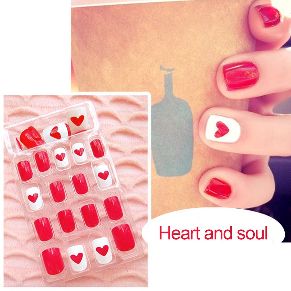 24Pcs Women Fake Nails Beauty Nail Art Sticker Tips False Nails DIY Manicure Kit Finished Nails Tools Easy To Use