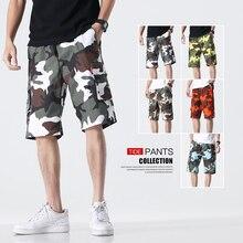 2020 moda casual masculina camo carga shorts praia board meia calça masculina de grandes dimensões calças curtas camuflagem streetwear shorts M-8XL