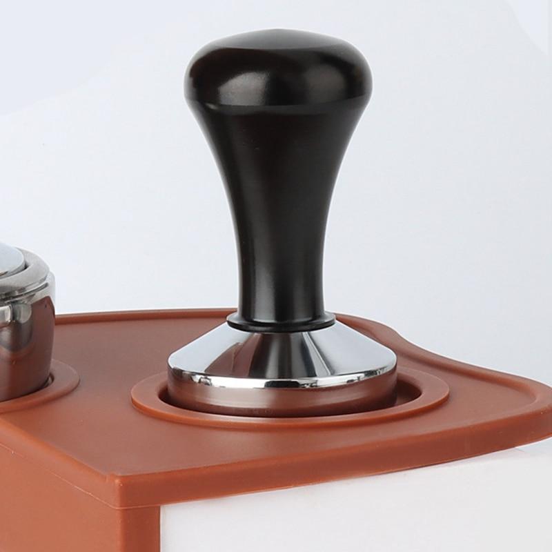 HOT-2X 51 مللي متر سدادة قهوة باريستا معايرة قهوة اسبريسو مسحوق الفول الصحافة المطرقة قاعدة ، أسود & 53 مللي متر أسود + فضي