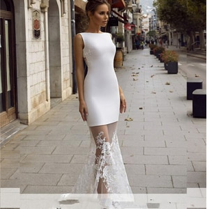 Sexy Beach Wedding Dress Simple 2021 New  Long Formal Bridal Party Dresses Satin Lace See Through Bottom Vintage Bride Dress