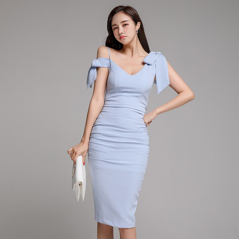 Vrouwen Party Dress Elegant Blue V-hals One-Shoudler Bow Bodycon Potlood Jurk Club Zomer 2020 Eenvoudige Korte Stijl Vestidos