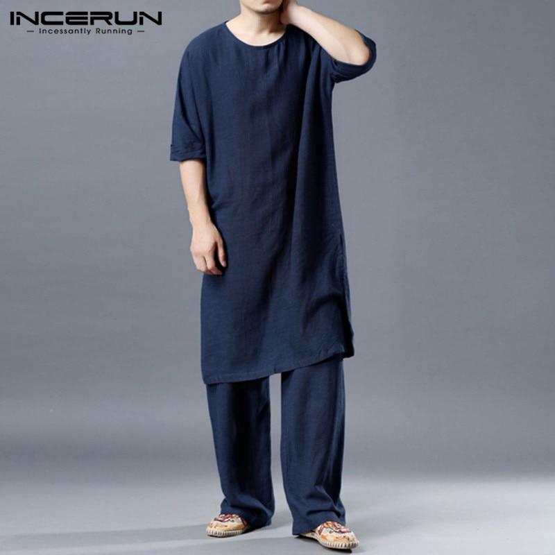 INCERUN, conjuntos de estilo chino para hombres, algodón suelto, Vintage, sólido, Media manga, Camisetas largas, pantalones largos rectos, Casual, hombres, cómodos trajes 7