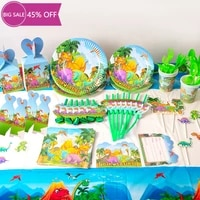 animal dinosaur theme disposable party tableware set kids happy birthday party decor cup plate napkin tablecloth banner supplies