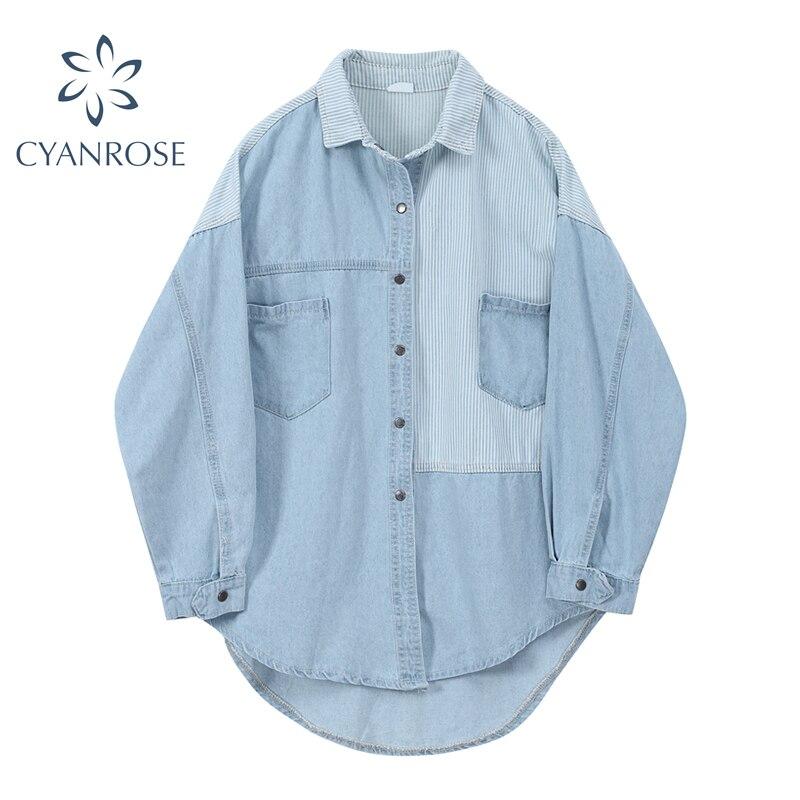 Irregular Spliced Denim Shirt Coat Women Long Sleeve Pocket Cardigan Streetwear BF Jean Jacket Y2K H