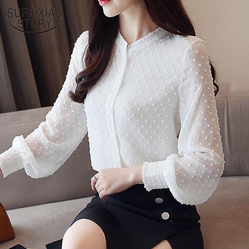 2019 Новое поступление Женская рубашка Милая женская с v-образным вырезом С ВОЛНИСТЫМ вырезом с длинными рукавами женская блузка корейский стиль 0974 30