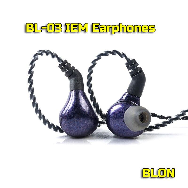 BLON BL-03 auriculares HiFi de 10mm, diafragma de nanotubo de carbono DD Driver 32Ω 3,5mm, auriculares de enchufe ChiFi con Cables desmontables
