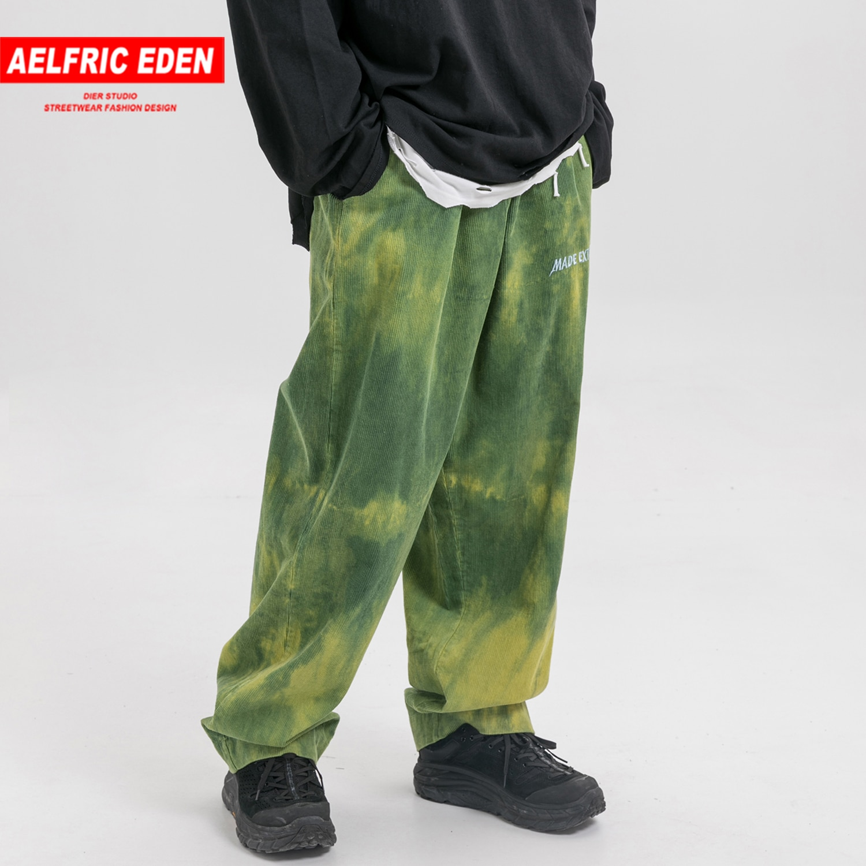 Eden Aelfric Cor Bloco Carta bordado Harem Pants Mens Hip Hop Streetwear Sweatpants Corredores Calças Cintura Elástica Casuais