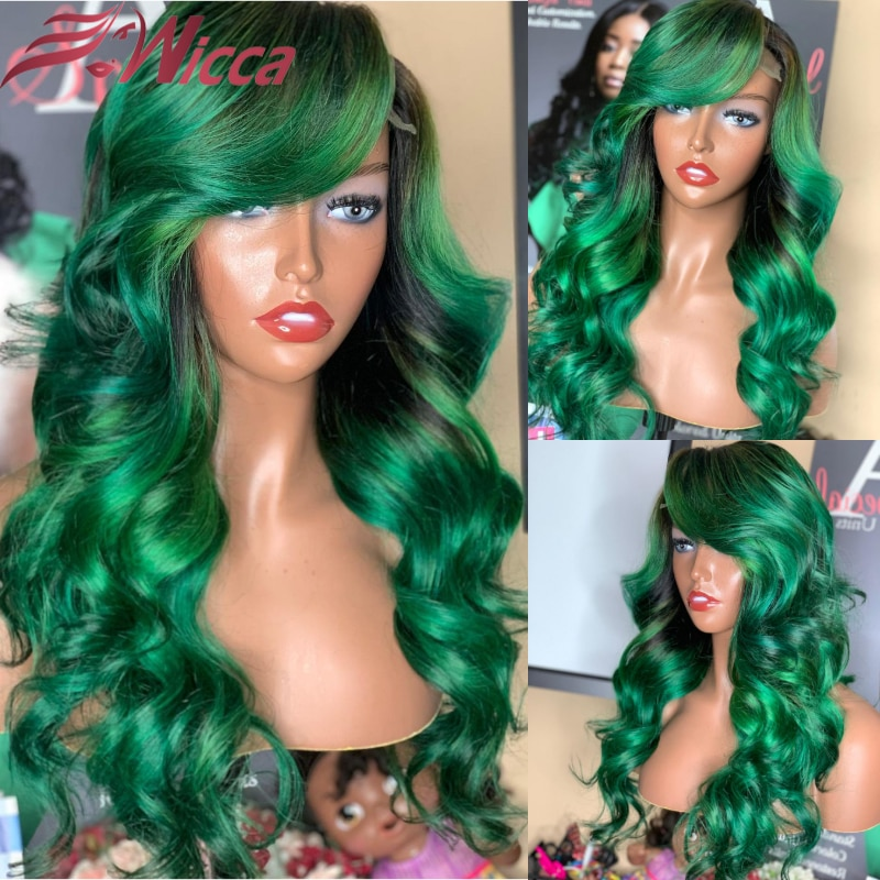 Green Colored Full 13X4 Lace Frontal Wig with Baby Hair Transparent Remy Human Hair Pre Plucked Body Wave Wigs for Women