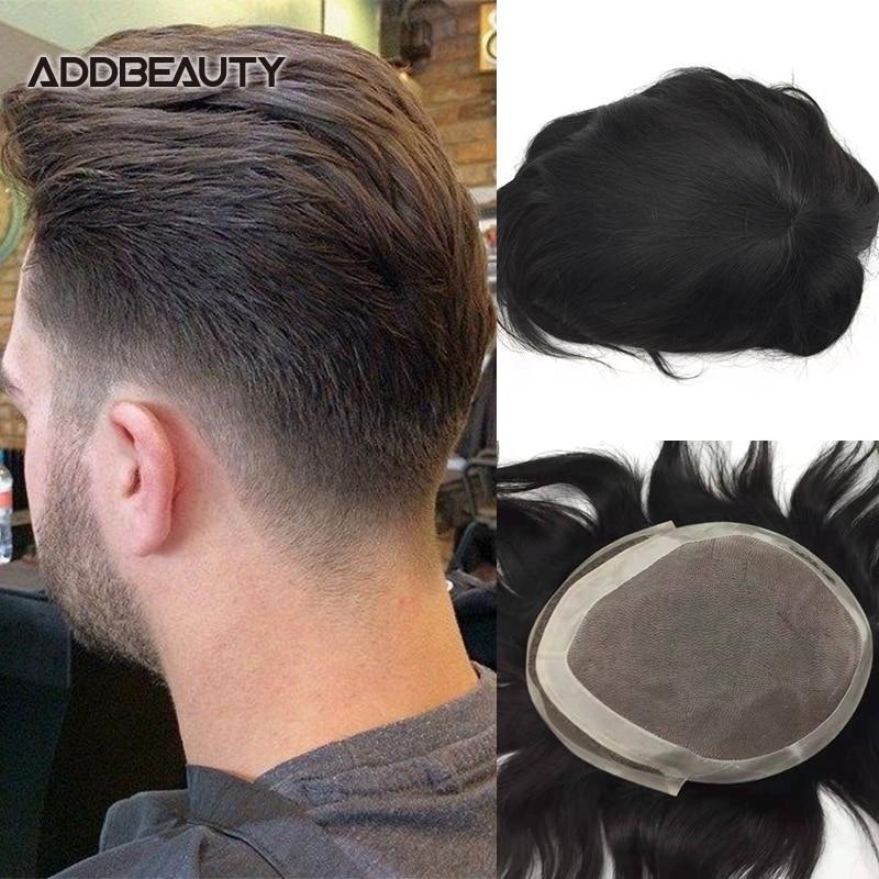 Laço suíço frontal do plutônio dos homens peruca de cabelo humano respirável indiano remy cabelo sistema onda reta cor natural novo