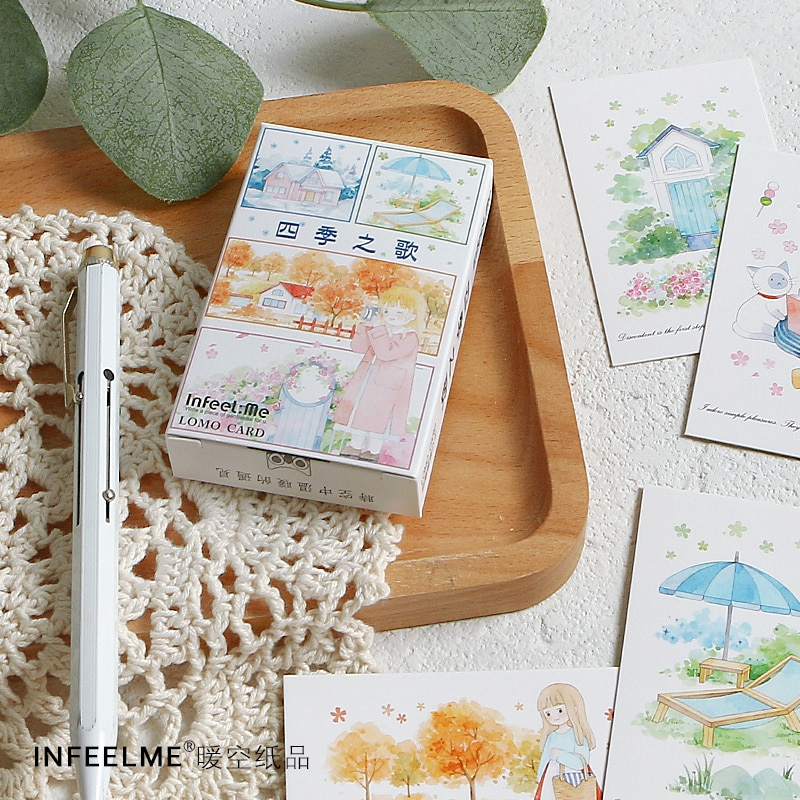 28 Sheets/Set Song of the Four Seasons Lomo Card Cartoon Mini Postcard Birthday Greeting Card Message Card