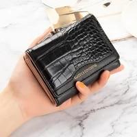 pu womens wallet female short retro three fold folding student version simple multi card crocodile pattern coin purse