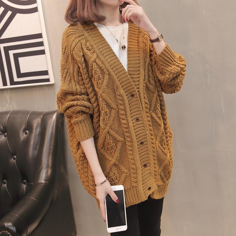 Long Knitted Cardigan Long Sleeve Causal Sweater Coat 2020 V-neck Jacket Coats Korean Female Cardigans Pull Femme enlarge