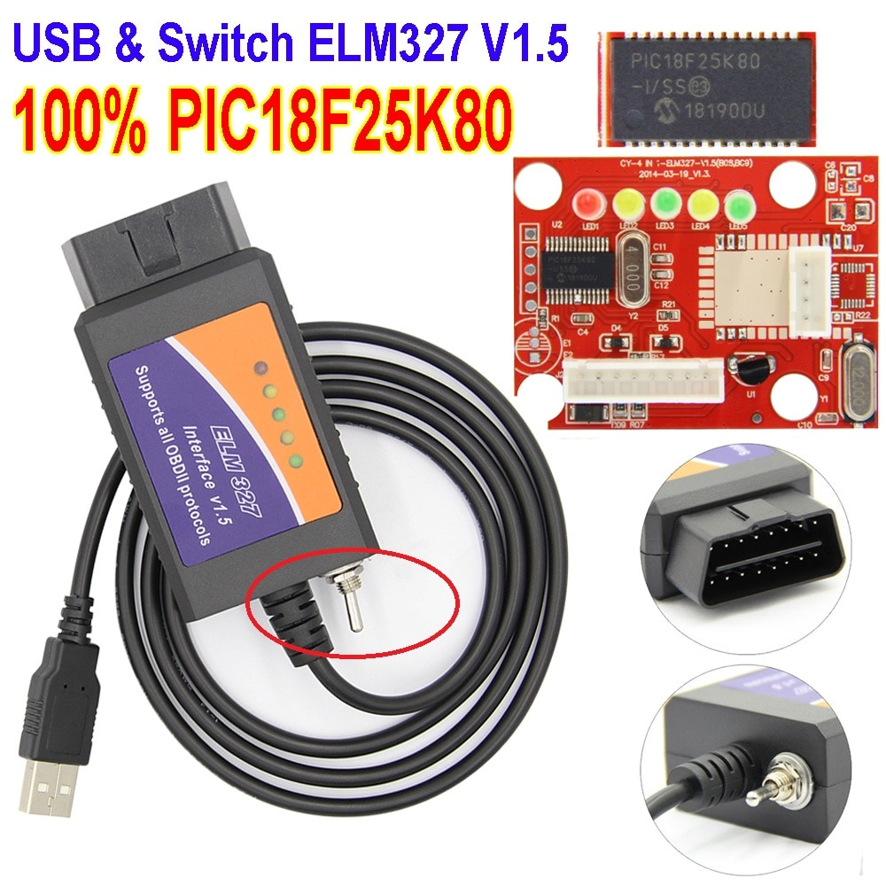Nuevo 100% PIC18F25K80 Chip ELM327 V1.5 interruptor USB ELM 327 CAN/MS CAN para Forscan OBD2 escáner de diagnóstico envío gratis