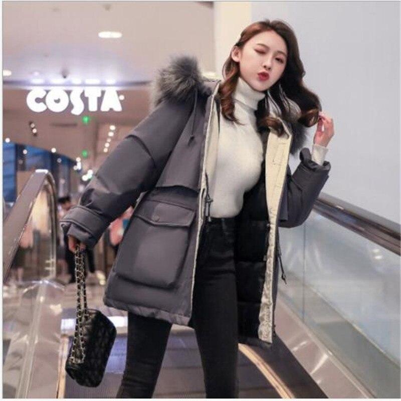 Grandes bolsillos Invierno Mujer chaqueta Abrigos Mujer abajo Parkas corto grueso Cuello...