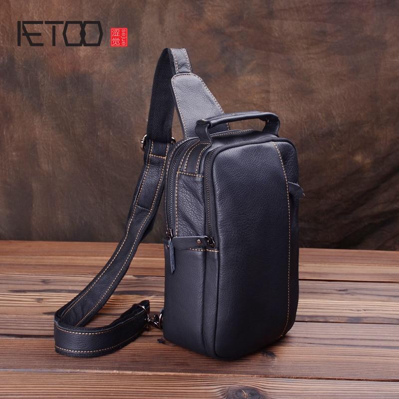 AETOO-حقيبة صدر جلدية للرجال ، حقيبة كتف مائلة ، حقيبة رياضية ، عصرية ، جيب صغير غير رسمي