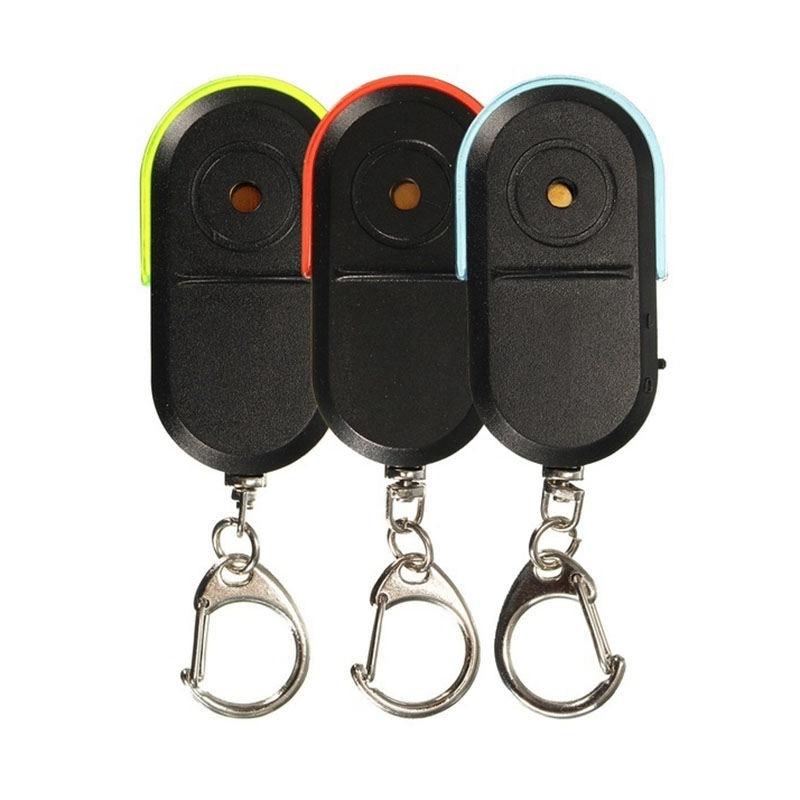 AAY-Wireless Anti-Lost Alarm Key Finder Locator Keychain Whistle Sound Led Light