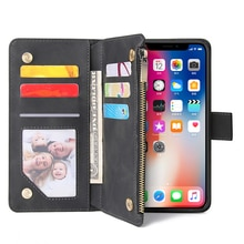 Portefeuille à glissière en cuir étui de téléphone pour iPhone XS Max X XR 6 6S 8 7 Plus étui à rabat livre étui magnétique pour iPhone 11 Pro Max SE 2020