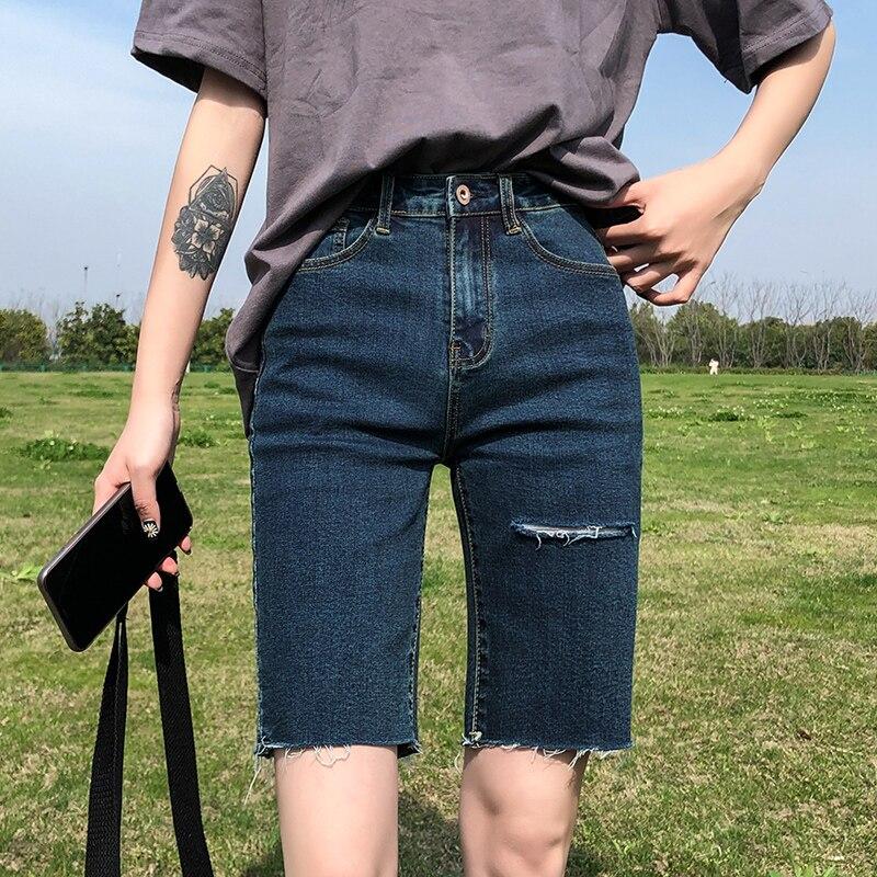 Black Denim Biker Shorts Women Summer 2020 New Yoga Shorts Tight High Waist Ripped Distressed Jeans Street Korean Fashion Style