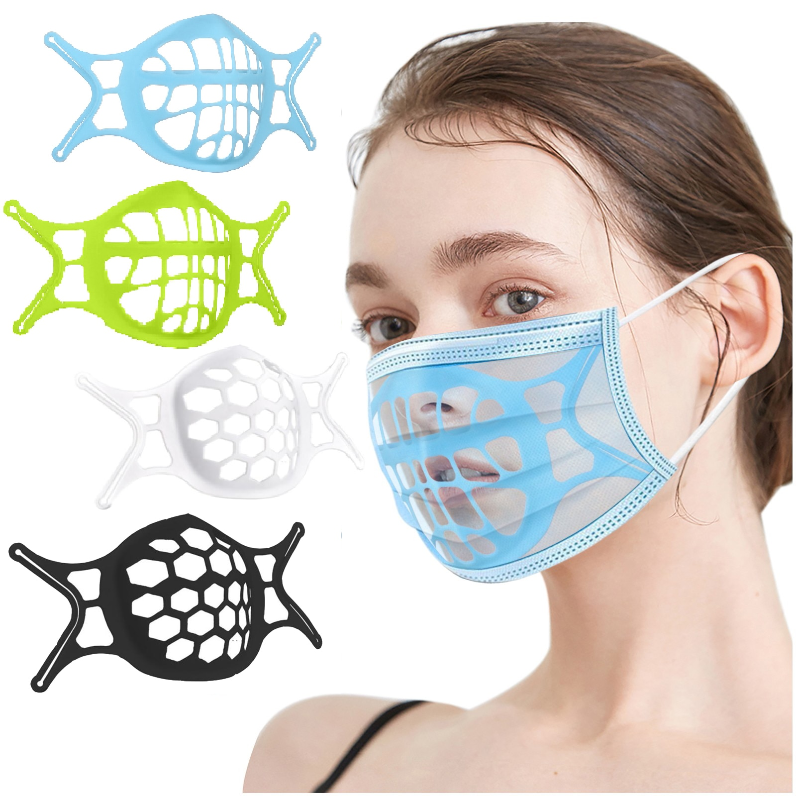 30PCS 3D Mask Bracket Breathing Assist Help Inner Cushion Bracket Silicone Reusable Washable Mask Holder Support Face Skin Care