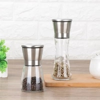 1pcs fashion stainless steel mill glass body spice salt and pepper grinder kitchen accessories cooking tool portable