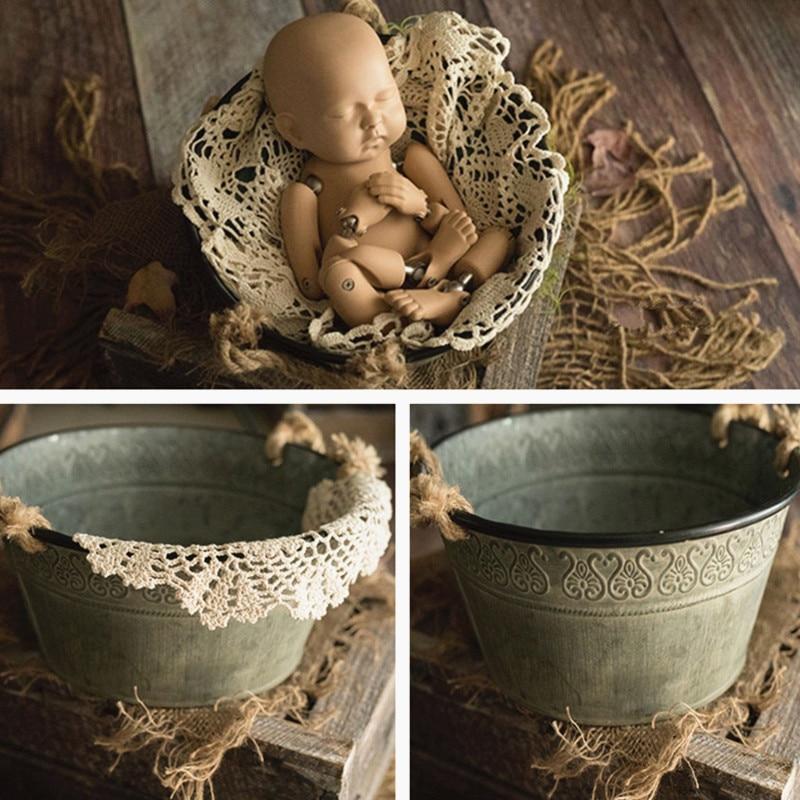 newborn baby photography Newborn Photography Props Photography Baby Props Photo Props Baby Studio Accessori Retro Pattern Iron Bucket for Newborn Shoot