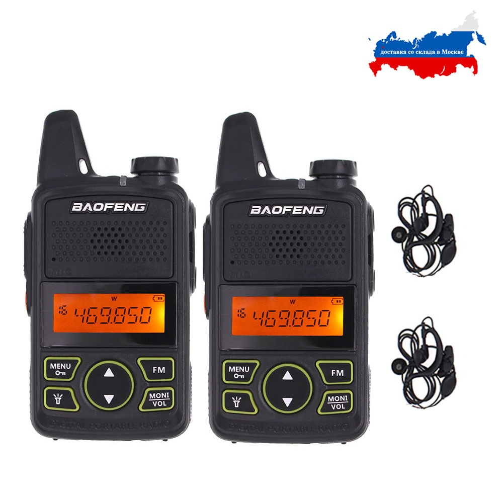 2pcs/lot BAOFENG T1 MINI Two Way Radio BF-T1 Walkie Talkie UHF 400-470mhz 20CH Portable Ham FM CB Ra