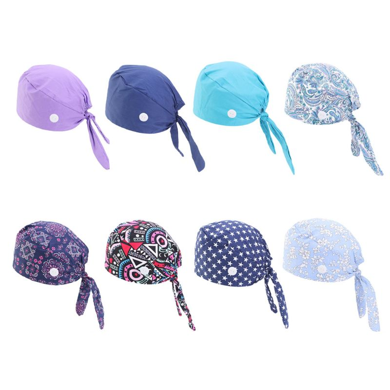 Working Scrub Cap with Button Sweatband Star Paisley Floral Print Adjustable Tie Back Elastic Bouffant Hat Head Scarf tie back button detail cami top with skirt