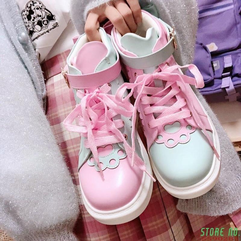 Lolita Shoes Women Sneakers Sweet Kawaii Pink Fashion Student High Top Sports White Platform Cute College Loli Running 2021
