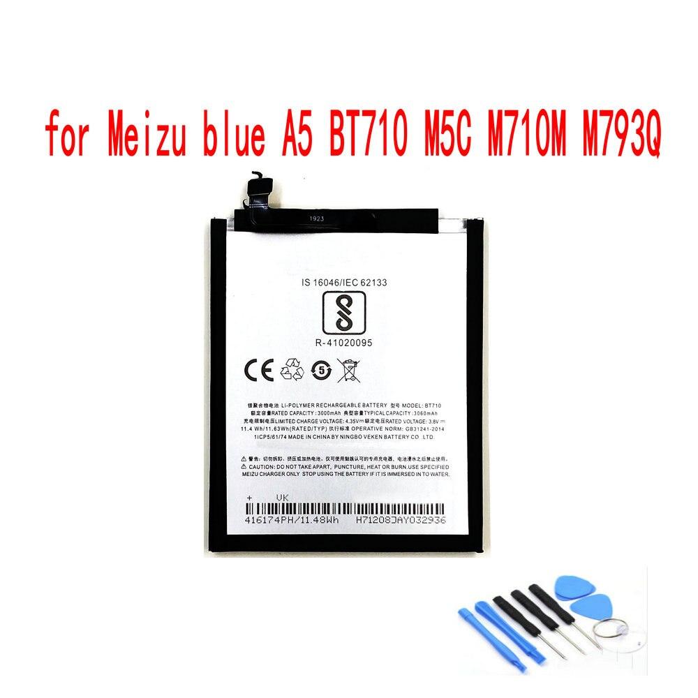Batería de alta calidad BT710 3000mAh para Meizu blue A5 BT710 M5c M710H M710M M793Q teléfono móvil