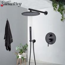 Preto fosco torneira do chuveiro de bronze redonda chuva cabeça torneira do chuveiro escondido na parede cabeça água da banheira