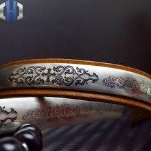 Conception originale 925 Bracelet en argent Sterling Vintage gravé Couple Bracelet EDC Bracelet