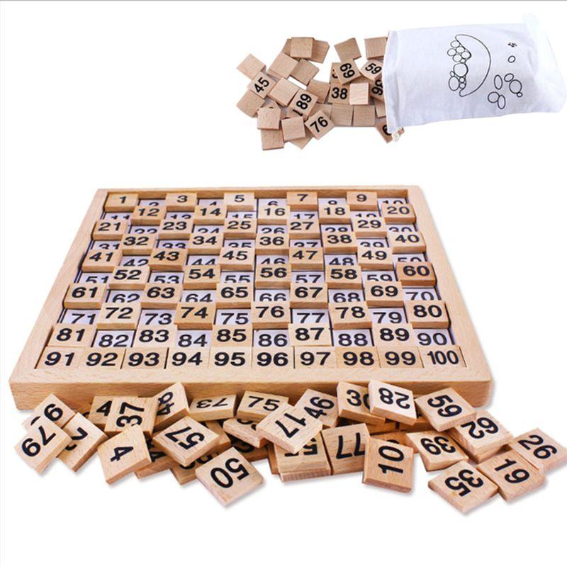 Juguetes de madera, juego educativo de madera de números completos Montessori 1-100, juego educativo para niños