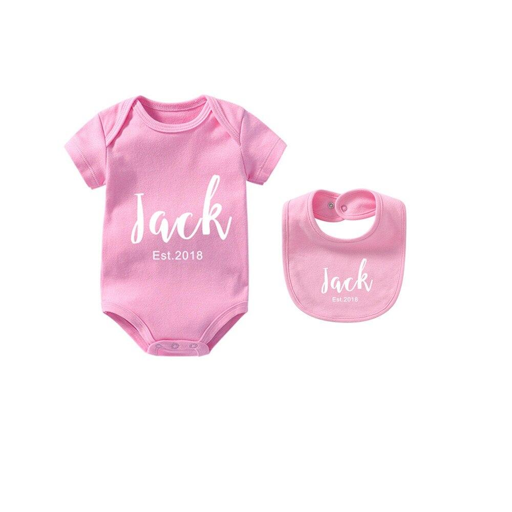 Mameluco para bebé niña recién nacido con estampado de letras 1 Pza. Babero para bebé + 1 Pza. Pelele de verano para bebé de manga corta ropa de bebé lindos trajes de algodón