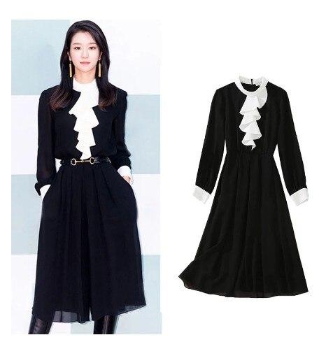 Kpop Seo Yea Ji المرأة الصيف فستان مثير الدراما الكورية تظهر فستان طويل أسود مع حزام المرأة أنيقة جزئيا فستان السيدات فستان الشمس