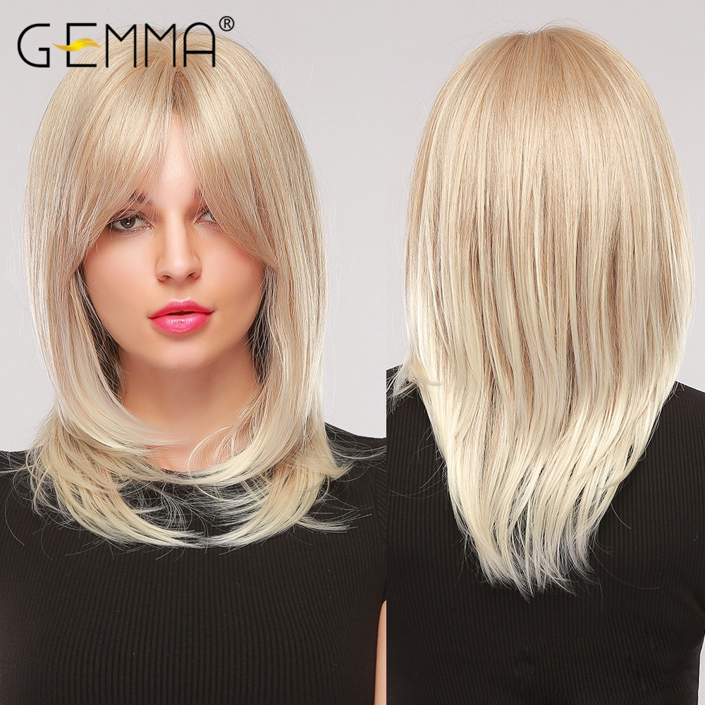 AliExpress - GEMMA Medium Wavy Hair Natural Cosplay Ombre Golden Blonde Layered Synthetic Wig with Side Bangs for Women Heat Resistant Fibre