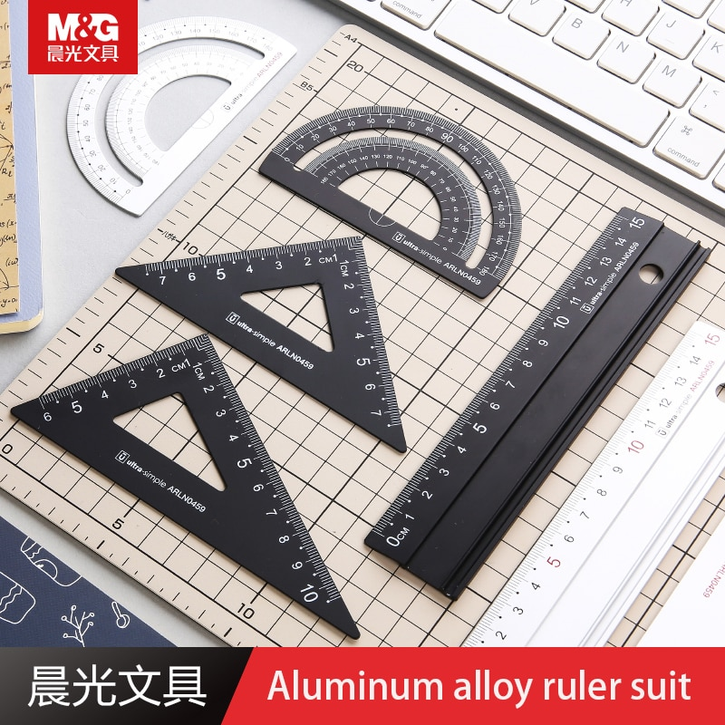 M&G ARLN0459 Aluminum Alloy Ruler Suit White Ruler Black Ruler Student Supplies Aluminum Alloy Material