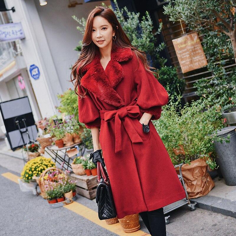Dabuwawa invierno Vintage de lana larga abrigos mujeres linterna solapa manga marco elegante cálido abrigo de lana ropa de calle mujer D18DLN023